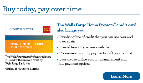 Wells Fargo Buy today, pay over time banner
